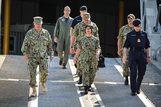 Командующая шестым флотом ВМС США вице-адмирал Лиза Франкетти во время учений BALTOPS, июнь 2018 года