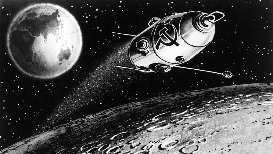 Межпланетная автоматическая станция «Луна-10», репродукция, 1966 год