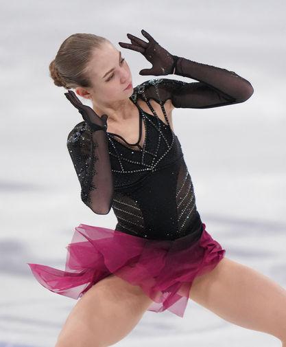Александра Трусова в произвольной программе женского одиночного катания на чемпионате мира по фигурному катанию в Стокгольме