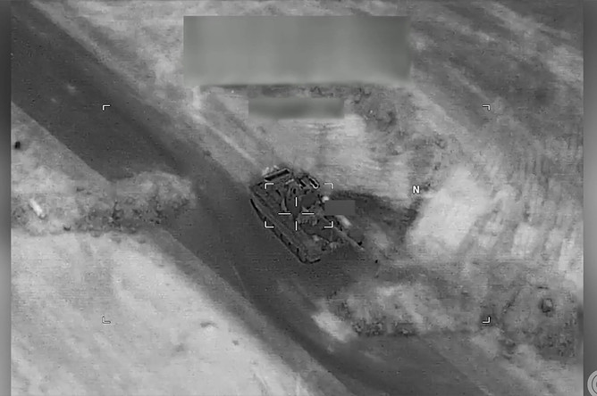 За секунду до удара по танку, кадр из видео