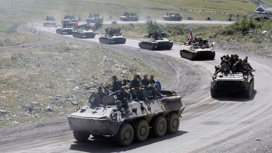 Российская военная техника во время приближения к границе России и Южной Осетии, 24 августа 2008 года
