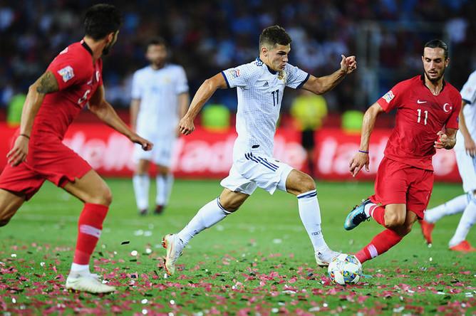 Во время матча Лиги наций УЕФА между Россией и Турцией, 7 сентября 2018 года