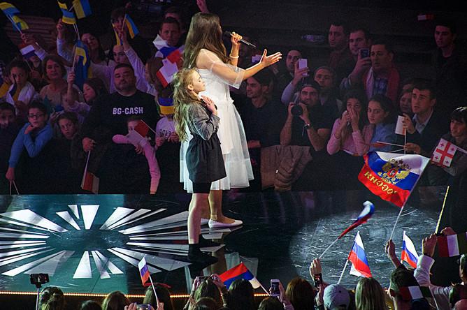 Полина Богусевич во время выступления в финале «Детского Евровидения» в Тбилиси, 26 ноября 2017 года