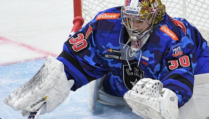 Вратарь сборной России Андрей Василевский в матче чемпионата мира по хоккею за третье место между сборными командами России и Чехии.