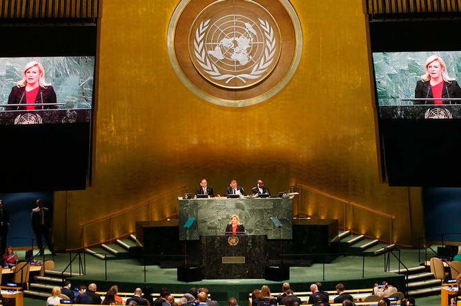 Президент Хорватии Колинда Грабар-Китарович выступает в ООН