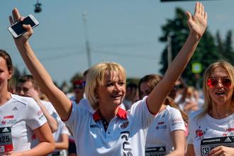 Гимнастка Светлана Хоркина во время благотворительного забега «Бегущие сердца»