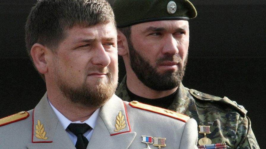 Глава Чечни Рамзан Кадыров и зампред правительства республики Магомед Даудов во время мероприятий в Грозном в честь Дня сотрудника МВД, 2010 год