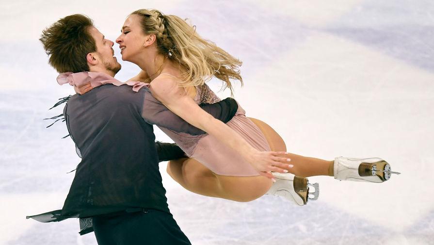 Виктория Синицина и Никита Кацалапов в произвольной программе танцевальных пар на чемпионате мира по фигурному катанию в Стокгольме