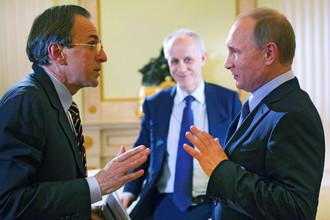 Владимир Путин, директор газеты Corriere della Sera Лучиано Фонтана и журналист Паоло Валентино во время интервью