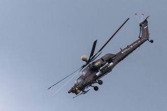 Второй день работы авиасалона МАКС-2017 в подмосковном Жуковском, 19 июля 2017 года. Вертолет Ми-28Н «Ночной охотник»