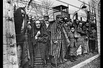 Заключенные концлагеря Освенцим смотрят в объектив из-за колючей проволоки, 27 января 1945 года
