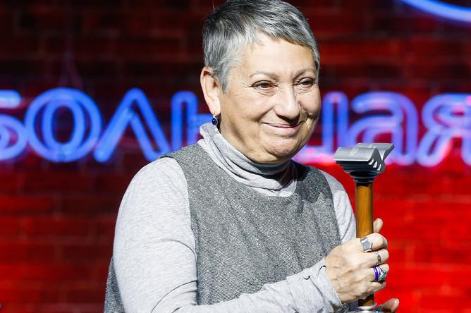 Людмила Улицкая, получившая приз читательских симпатий, на церемонии вручения национальной литературной премии «Большая книга», 2016 год