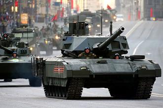 Танк Т-14 «Армата» во время проезда военной техники по Тверской улице перед репетицией парада на Красной площади в честь 70-летия Победы в Великой Отечественной войне