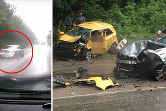Mercedes-Benz на встречной полосе незадолго до момента аварии и последствия столкновения со встречной машиной, коллаж