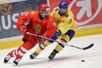 Эпизод матча Россия- Швеция на ЮЧМ-2019