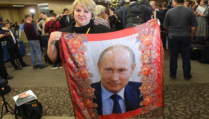 Перед большой пресс-конференцией президента России Владимира Путина в Центре международной торговли в Москве, 19 декабря 2019 года