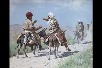 Василий Верещагин. Мулла Рахим и мулла Керим по дороге на базар ссорятся. 1873