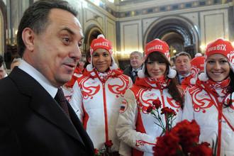 Виталий Мутко на церемонии проводов российской олимпийской команды в Ванкувер в Храме Христа Спасителя, 2010 год