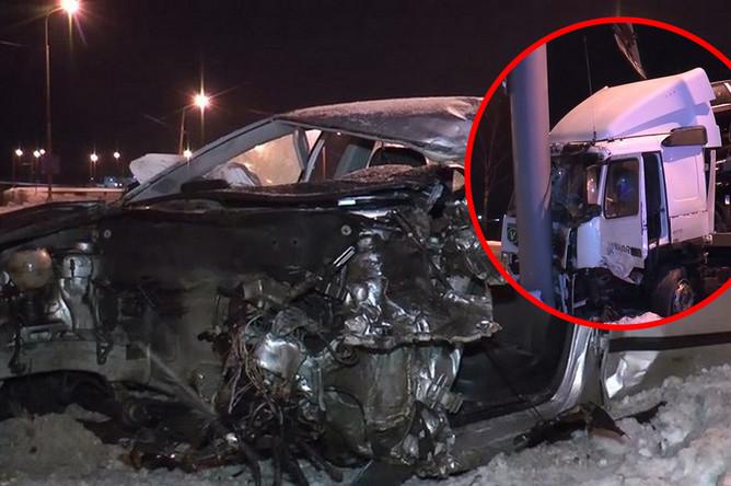 Последствия аварии с участием легкового автомобиля и автовоза в Калужской области, 11 февраля 2018 года, коллаж