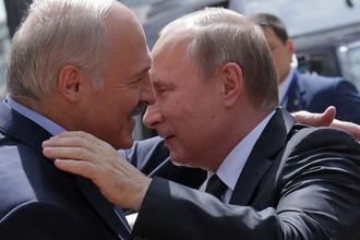 Президент Белоруссии Александр Лукашенко и президент России Владимир Путин во время встречи в Минске, 2016 год