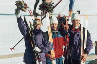 Призеры биатлонной гонки на 20 км на Олимпиаде-1994. В середине — Сергей Тарасов