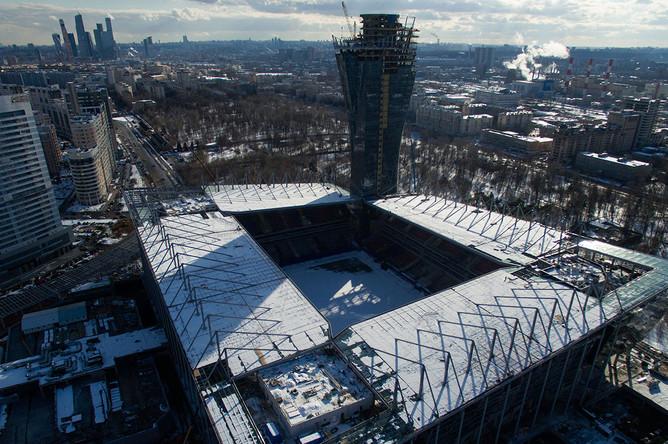 Строящийся стадион ПФК ЦСКА на Третьей Песчаной улице в Москве