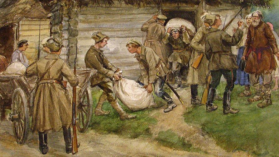 Работа «Продразверстка» художника Ивана Владимирова из серии революционных зарисовок 1918 года