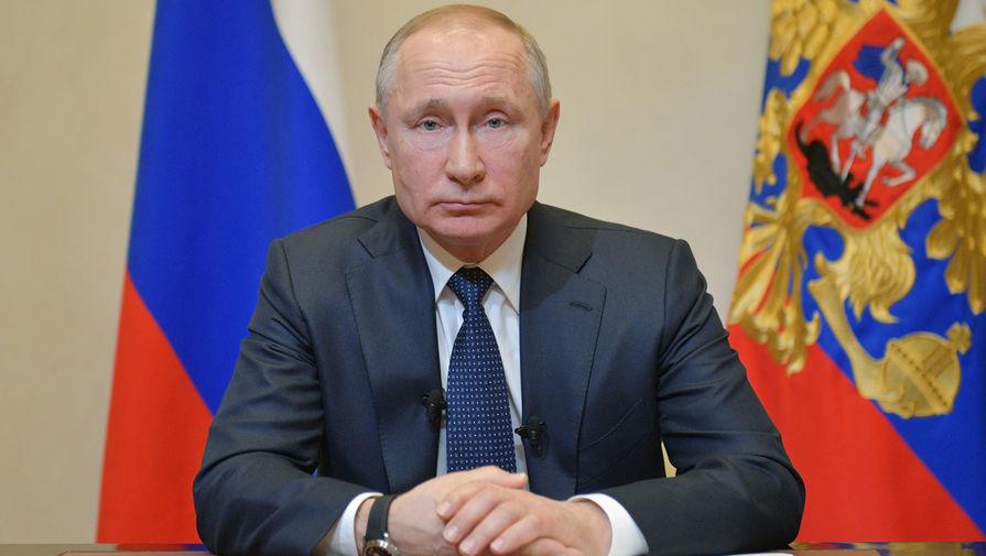 Президент России Владимир Путин во время обращения к гражданам из-за ситуации с угрозой распространения коронавирусной инфекции, 25 марта 2020 года
