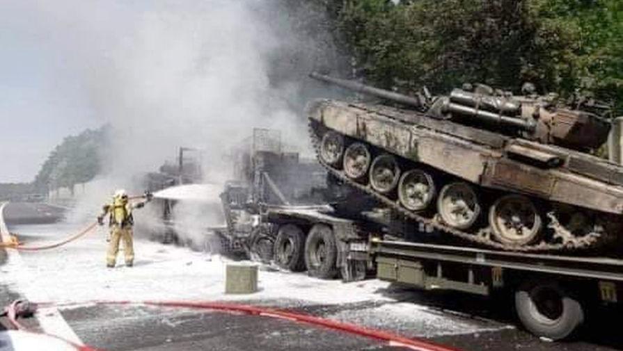 В Польше несколько танков сгорели в результате дорожной аварии