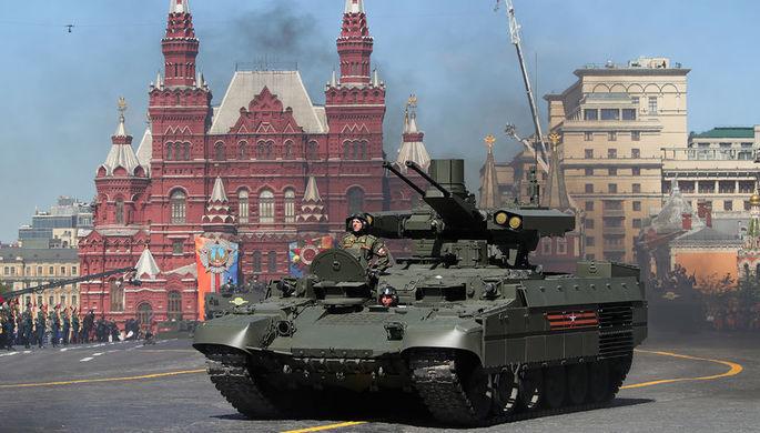 Боевая машина поддержки танков (БМПТ) «Терминатор» на Красной площади во время военного...