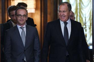 Исполняющий обязанности министра иностранных дел РФ Сергей Лавров и глава МИД Германии Хайко Маас, 10 мая 2018 года