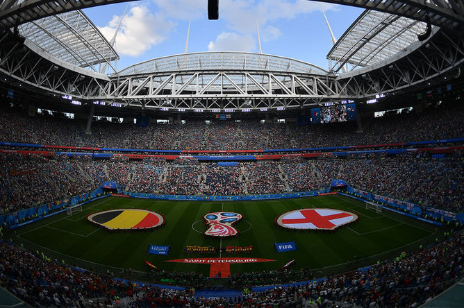 Стадион «Санкт-Петербург» перед началом матча за третье место чемпионата мира по футболу между сборными Бельгии и Англии