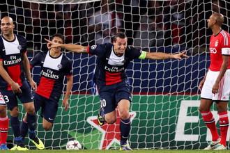 Златан Ибрагимович празднует гол в ворота «Бенфики»