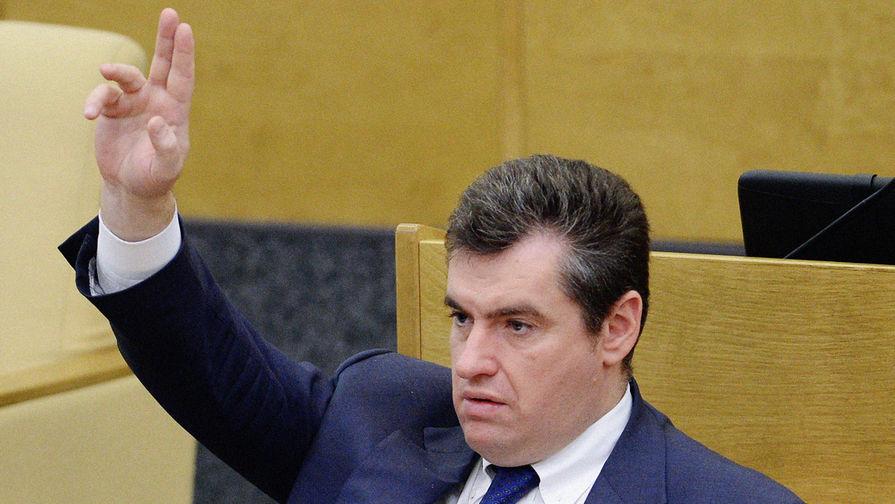 Депутат Госдумы Леонид Слуцкий во время пленарного заседания, 2014 год