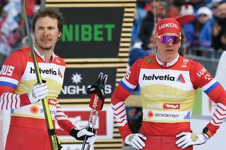 Российские лыжники Глеб Ретивых и Александр Большунов