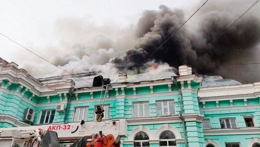 На месте пожара в кардиохирургическом центре Благовещенска, 2 апреля 2021 года