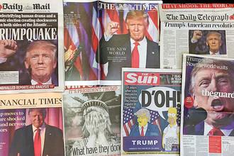 Британские газеты. Daily Mirror: «Что они наделали?», Daily Mail: «Трампотрясение», The Guardian: «Трамп победил, теперь весь мир подождет», The Sun с отсылкой к мультсериалу «Симпсоны»