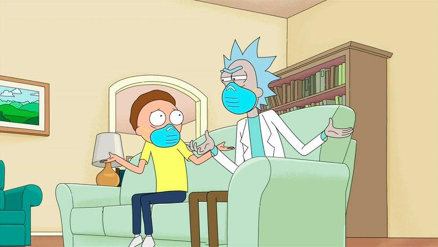 Герои сериала «Рик и Морти» во время 72-й церемонии вручения телевизионной премии «Эмми», 21 сентября 2020 года