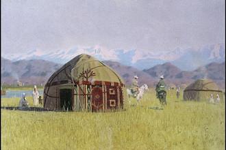 Василий Верещагин. Киргизские кибитки на реке Чу. 1870