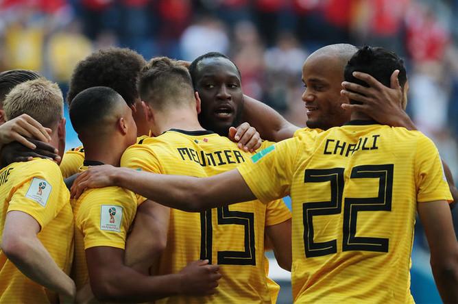 Игроки сборной Бельгии радуются забитому голу в матче за третье место чемпионата мира по футболу между сборными Бельгии и Англии