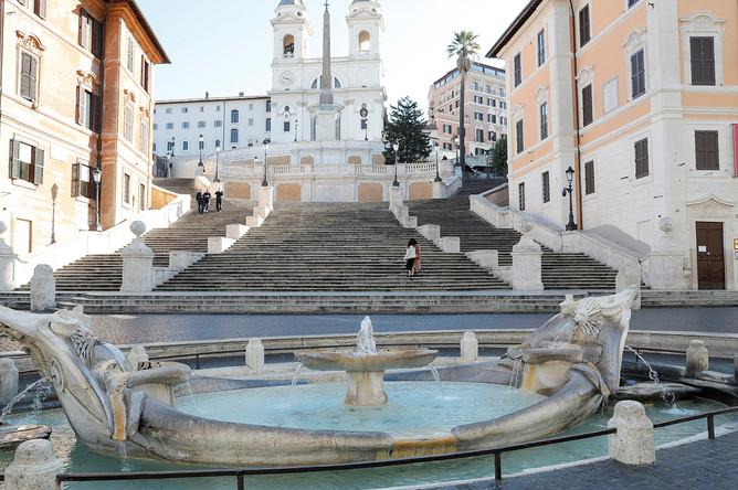 Испанская Лестница в Риме, 10 марта 2020 года