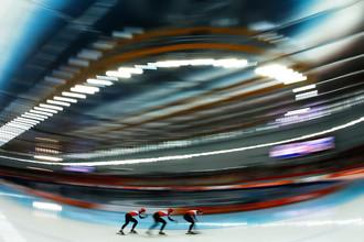 Конькобежцы из Нидерландов во время Олимпийских игр в Сочи, 2014 год