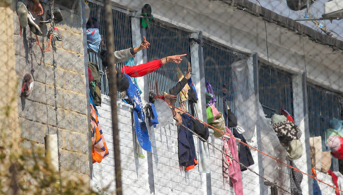 Во время бунта в тюрьме в Боготе, Колумбия, 22 марта 2020 года