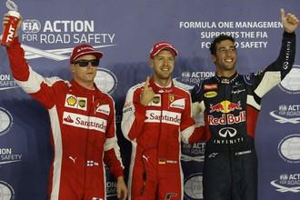 Три лучших пилота в квалификации Гран-при Сингапура: Райкконен, Феттель, Риккардо