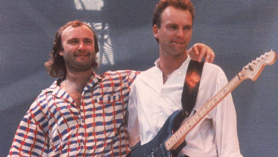 13 июля 1985 года артист принял участие в благотворительном вечере Live Aid, который проходил на трех концертных площадках трех континентов, связанных телемостом. На британо-французском сверхзвуковом самолете «Конкорд» Коллинз пересек океан, чтобы выступить в Лондоне и Филадельфии. Его интервью из «Конкорда» в прямом эфире смотрели около 1,5 млрд человек в 100 странах. На мероприятии Коллинз исполнил песни «Against All Odds» и «In the Air Tonight». Также он выступал вместе со Стингом, Брэнфордом Марсалисом, Тони Томпсоном, Полом Мартинесом и Led Zeppelin. На фото: Фил Коллинз и Стинг во время концерта на лондонском стадионе «Уэмбли», 1985 год
