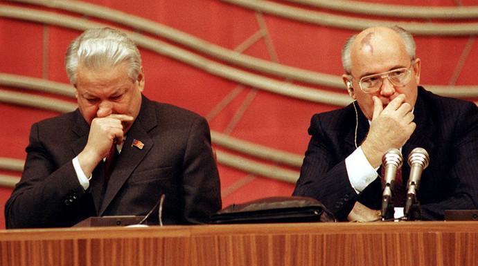 Борис Ельцин и Михаил Горбачев на четвертом съезде народных депутатов СССР, 1990 год