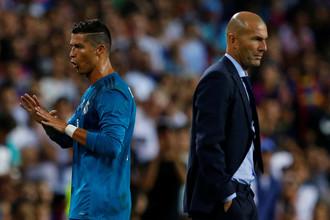 Нападающий «Реала» Криштиану Роналду и тренер Зинедин Зидан на первом матче за Суперкубок Испании