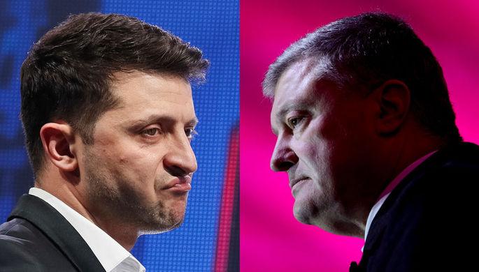 Кандидат в президенты Украины Владимир Зеленский и действующий президент Петр Порошенко, коллаж