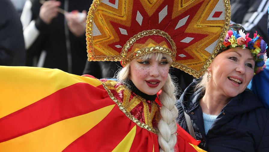 Участница празднования Масленицы в «Долине Лефкадия» в Краснодарском крае