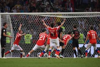 Эпизод матча 1/4 финала чемпионата мира по футболу между сборными России и Хорватии.
